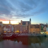 OK. This is a picture of the sun setting over Gdansk. From our hotel room. AWESOME weekend getaway.